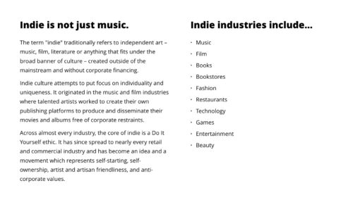 Indie is not just music