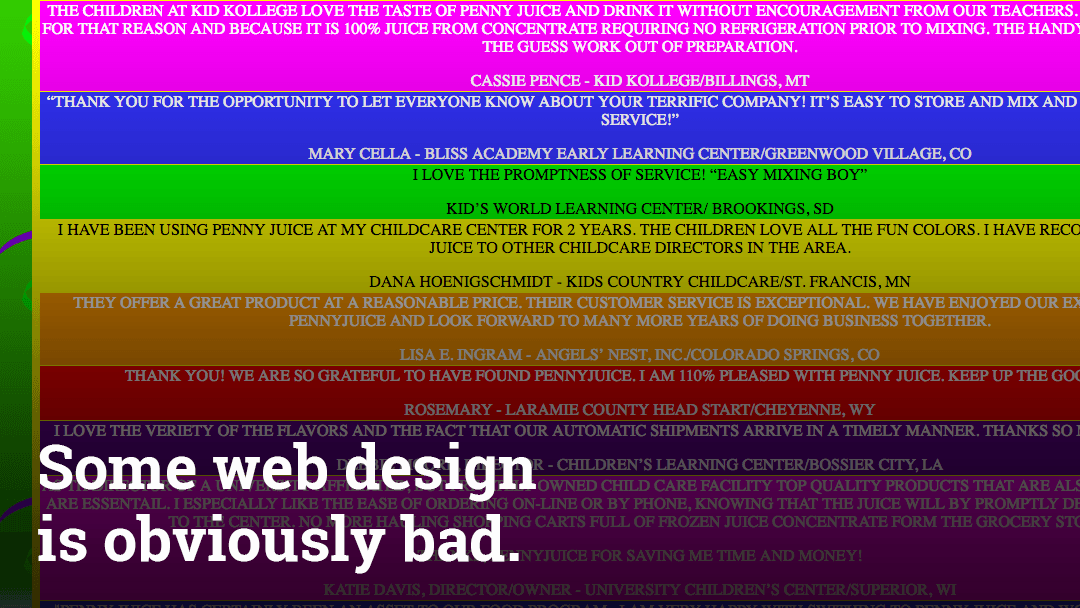 Some web design is obviously bad