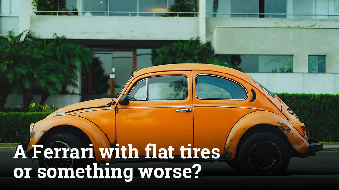 A Ferrari with flat tires or something worse?